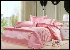 PINK SOLID SATIN SILKY UK SIZE FITTED/ SHEET SET/DUVET COVR SET/BED SKIRT