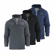 Mens Cardigan Jacket Crosshatch Mirotic Knitted Funnel Neck Fleece Lined Body