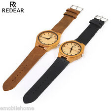 REDEAR SJ 1448 - 8 Wooden Female Quartz Watch Leather Strap Analog Wristwatch