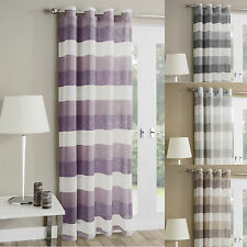 Madrid Striped Eyelet Ring Top Voile Panel Curtains Ready Made Single Panel New