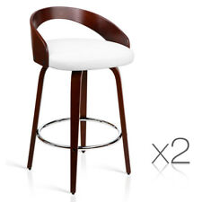 Set of 2 Cherry Wood Bar Stools with Chrome Footrest