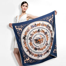 """100% Twill Silk Women Vintage Horse Carriage Printed Square Shawl Scarf 39""""*39"""""""