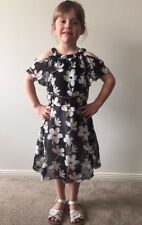 BNWT Toddler Girls Cold Shoulder Off Shoulder black and white summer dress