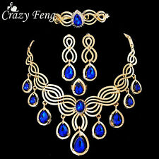 Women Gold Plated Crystal Wedding Jewelry Sets Girl Necklace Earrings Rings sets