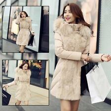 Down Cotton Hooded Outwear Winter Fur Collar Parka Women Coat Slim Long Jacket