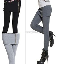 Women Warm Winter Skinny Slim Leggings Thick Footless Stretch Pants Culottes FT