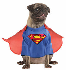 Superman Pet Dog Costume Blue Shirt And Attached Cape Fancy Dress Up Rubies