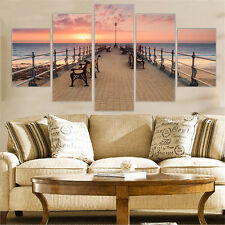 5 Piece Canvas Wall Art Oil Painting Sunset Beach Home Decorative Gift No Frame