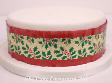 Traditional Christmas Cake Frill Red with Holly Leaf and Berry 1 2 or 5 metres