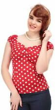 Collectif Dolores 50s Vintage Style Red and White Polka Dot Gypsy Top