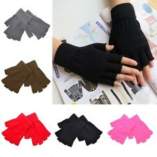 Women Men Soft Half Finger Gloves Winter Warmer Knitted Mittens Fingerless New Q