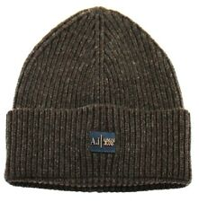 Armani Jeans Mens Wool Blend Knit Beanie Cap Hat B6428 C3 B7 Brown Made in Italy