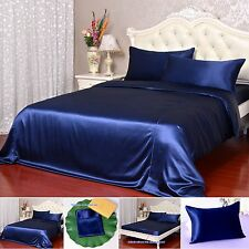 22 Momme 100% Pure Silk Duvet Quilt Cover Sheets Pillow Cases Seamed Navy Blue