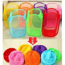 Folding Linen/Mesh Bin Laundry Storage Basket Clothes Hamper Children Toy Bucket