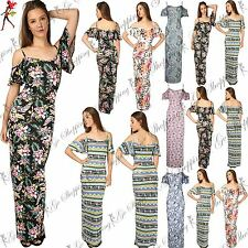 Ladies Cami Bardot Frill  Cold Open Womens Off The Shoulder Strappy Maxi Dress