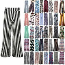 Womens Print Palazzo Wide Leg Trousers Ladies Flared Legging Pant Plus Size 8-26