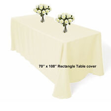 """70"""" x 108"""" polyester Ivory Rectangle Table cloth Wedding Banquet Table cover"""