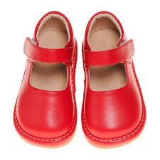 Girl's Leather Squeaky Mary Jane Toddler Shoes Solid Red Sizes 1-3