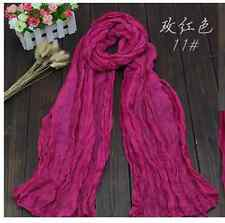 Womens Long Pure Candy Scarf Wrap Soft Crinkle Shawl #3