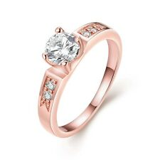 Fashion Jewelry CZ Wedding Gift NEW 18K Rose Gold Filled Women's Rings