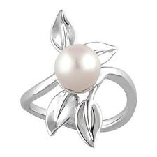 14K White Gold Freshwater Cultured Pearl Leaf Ring