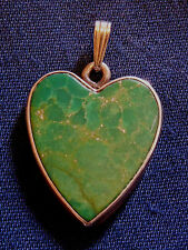 ARTISAN STERLING Silver TURQUOISE Inlay Engraved LEE HEART PENDANT