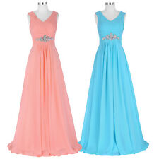 V-Neck Chiffon Formal Evening Prom Party Dress Bridesmaid Wedding Pleated Gown