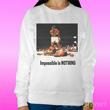 "WOMEN'S SWEATSHIRT LIGHT SWEATER WHITE "" MUHAMMAD WINGS NOTHING IS IMPOSSIBLE """