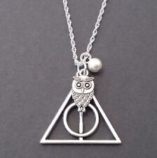 Silver Deathly Hallows Necklace Harry Potter Jewelry Owl Charm Chain Pendant