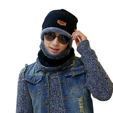 Men Cycling Scarf Winter Warm Solid Knitted Crochet Fleece Neck Warmer Scarves