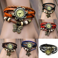 XMAS GIFT HOT Women Vintage Butterfly Bracelet Faux Leather Quartz Wrist Watch