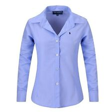Women Long Sleeve Pure Color Striped Blouses Turn Down Collar Casual  Shirts