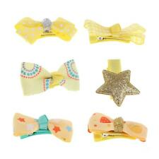 6Pcs Boutique Baby Girls Grosgrain Ribbon Barrette Kids Bow Hair Clips Hairpin