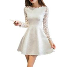 Spring Summer Autumn Women Lace Casual Dress Long Sleeve Dresses
