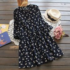 Korean Style Long Sleevedsmall Flowers Print Floral Fashion Woman Dress 13012