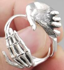 LIFE & DEATH HAND IN HAND SKULL SKELETON 925 STERLING SILVER MENS WOMENS RING