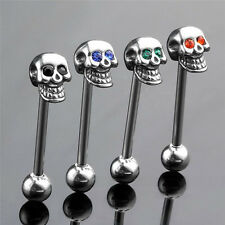 14G Stainless Steel CZ Gem Skull Silvery Tongue Barbell Ring Bar Body Piercing&*