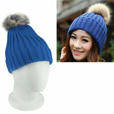 Super warm Imitation Rabbit Fur Rolling Side Candy Color Wool Hat Knitted Cap BE