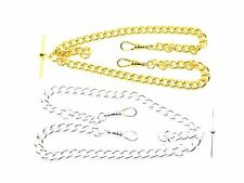 Pocket Watch Albert Chains, Silver Plated or Gold Plated, Single & Double Curb