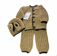 MiC Crafts Handmade Crochet Baby Boy Set Outfit 4 PC Sweater Pants Hat Booties