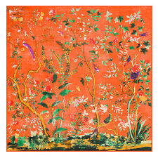 "Women's Orange Vintage Oil Painting Silk Shawl Big Printed Square Scarf 51""*51"""