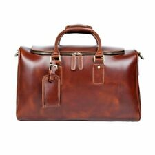 Men's GENUINE LEATHER Duffle Gym Bag Brown Travel Luggage Bag LARGE
