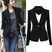 Women Blazer Jacket Suit Casual Black Coat Jacket Single Button Outerwear