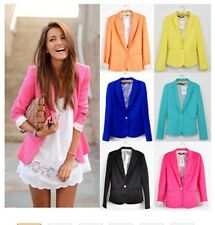 Women Foldable Cotton & Spandex With Lining Vogue Candy Colors Blazer