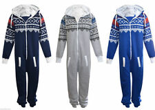 Unisex Mens Plain & Aztec Onesie Zip Up All In One Hooded Jumpsuit S to 5XL