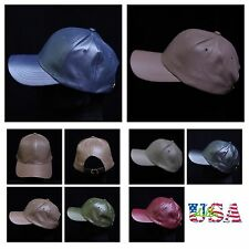 Women's Faux Leather Baseball Cap Solid Hat Plain Sports Casual Fashion Caps