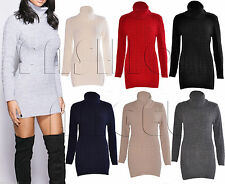 Women Cowl Polo Roll Neck Cable Knitted Jumper Ladies Stretch Mini Dress Top