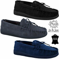 MENS GENUINE SUEDE LEATHER MOCCASIN SLEEPERS LOAFERS WARM LINED SHOES SIZES 6-12