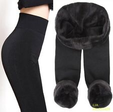 Women Winter High Elastic Thick Warm Casual Ankle-Length Skinny Leggings