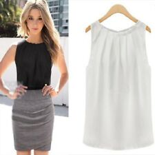 Women O-neck Sleeveless Tank Top Vest Chiffon Casual Camisole Shirt